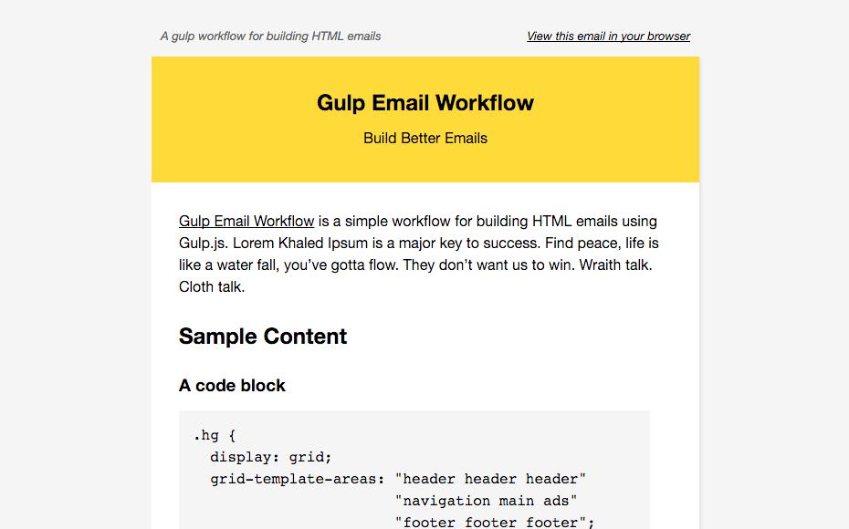 a gulp workflow for building html email. Black Bedroom Furniture Sets. Home Design Ideas