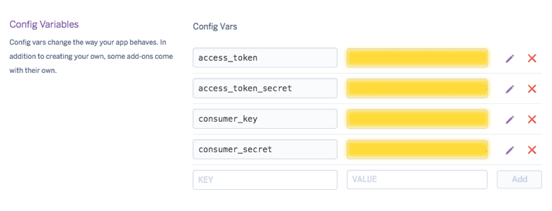 Heroku Application Conifg Variables