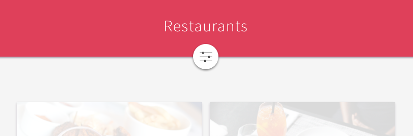 A website displaying various restaurants. The restaurants can be filtered by pressing a button with an image of sliders