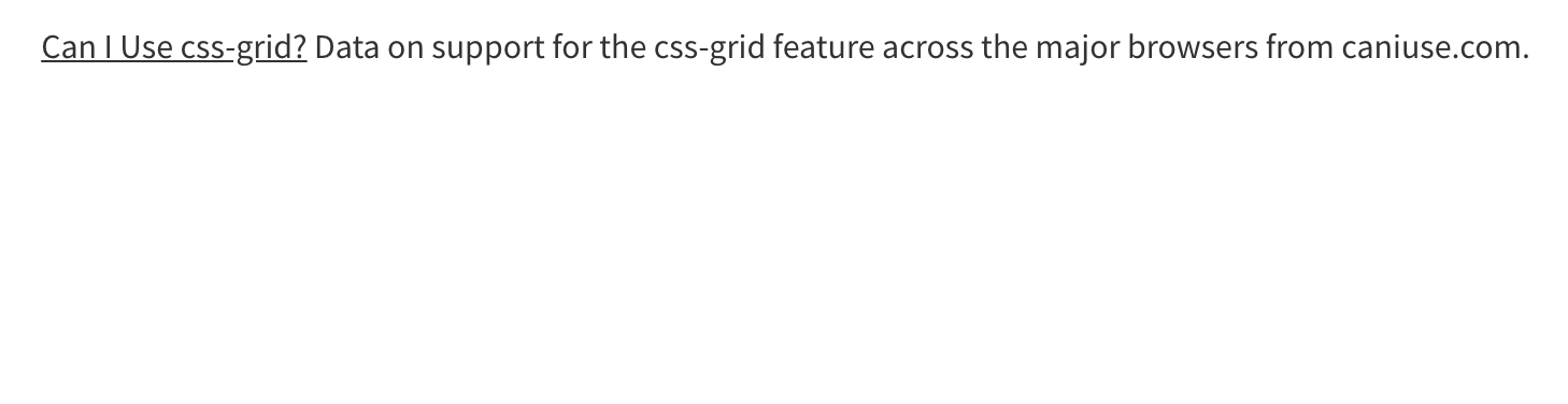 "Plain text that says ""Can I Use css-grid? Data on support for the css-grid feature across the major browsers from caniuse.com."""