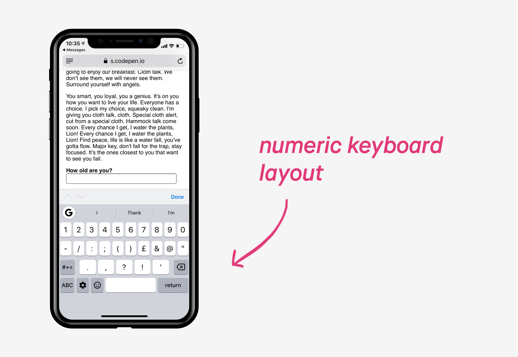 Numeric keyboard layout
