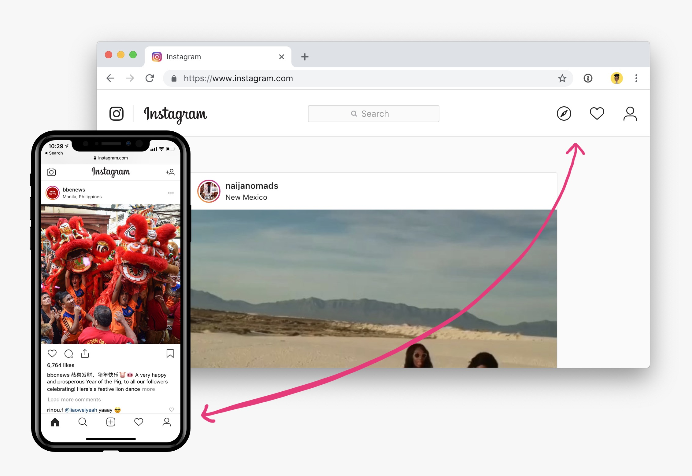 Navigation on instagram on desktop compared to mobile
