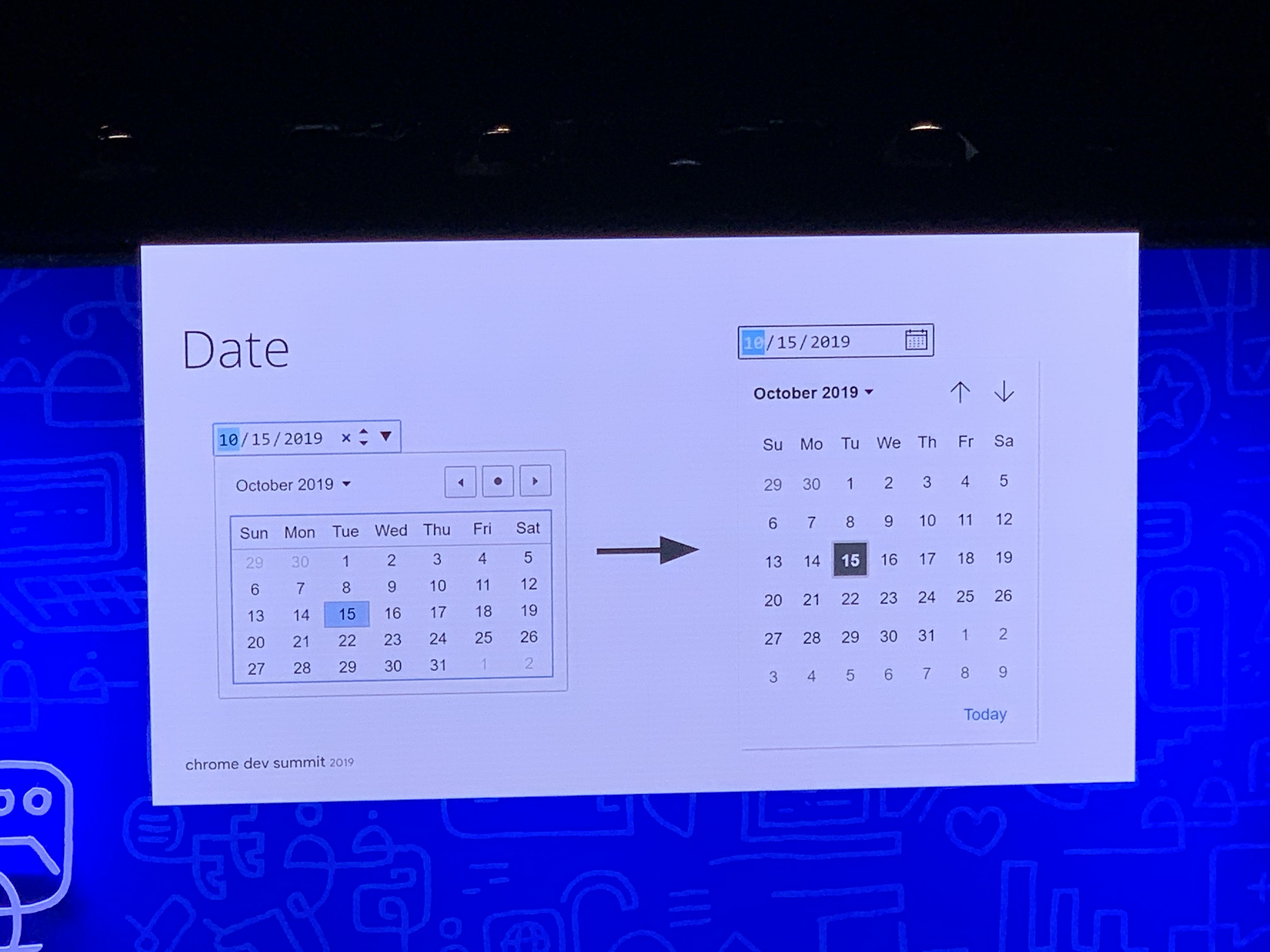 Redesigned date picker element