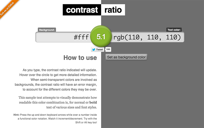 Example of Contrast Ratio of 5:1 with white bg and text of colour rgb 110 110 110